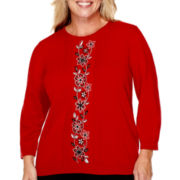 Alfred Dunner® Madrid 3/4-Sleeve Center Embroidery Sweater - Plus