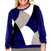 Alfred Dunner® Madrid Long-Sleeve Chenille Colorblock Sweater - Plus