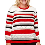 Alfred Dunner® Madrid Long-Sleeve Striped Chenille Sweater - Plus