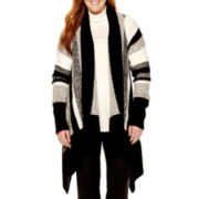 a.n.a® Long-Sleeve Textured Tipped Flyaway Cardigan - Plus