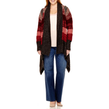 jcpenney.com | a.n.a® Blanket Flyaway Cardigan, Fabric-Mix Fringe-Front Tank Top or Bootcut Jeans - Plus