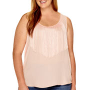 a.n.a® Fabric-Mix Fringe-Front Tank Top - Plus