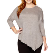 a.n.a® Long-Sleeve Asymmetric-Hem Tunic Top - Plus