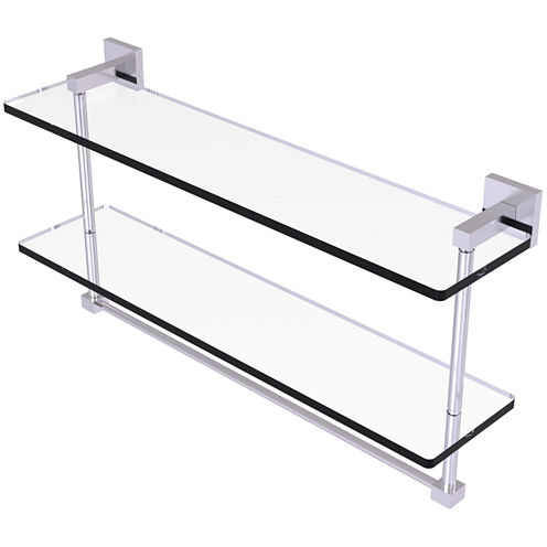 Allied Brass Montero Collection 22 IN Two Tiered Glass Shelf With Integrated Towel Bar