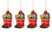 MarthaHoliday™ The Night Before Christmas Set of 4 Boots Christmas Ornaments