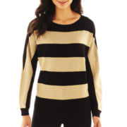 Liz Claiborne Long-Sleeve Metallic-Striped Sweater