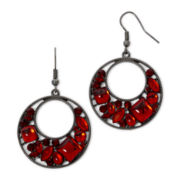 Decree® Silver-Tone Red Circle Earrings