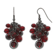 Decree® Silver-Tone Red Cluster Earrings