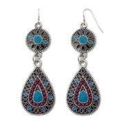 Decree® Silver-Tone Multicolor Drop Earrings