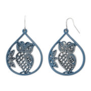 Decree® Blue Cutout Owl Earrings