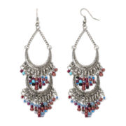Decree® Silver-Tone Seed Bead Crescent Drop Earrings