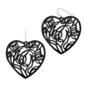 Decree® Black Floral Cut-Out Heart Earrings