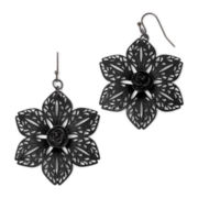 Decree® Black Filigree Cut-Out Floral Earrings