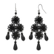 Decree® Black Filigree Floral Chandelier Drop Earrings