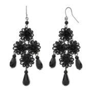 Decree® Black Filigree Floral Chandelier Drop Earrings