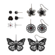 Decree® Silver-Tone Stud & Drop 6-pr. Earring Set