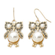 Decree® Simulated Pearl Owl Earrings