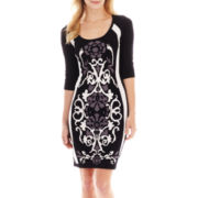 Melrose 3/4-Sleeve Print Knit Sweater Dress