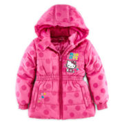 Hello Kitty® Flocking Print Hooded Puffer Jacket - Girls 4-6x