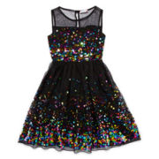 Speechless Sleeveless Multi-Sequin Dress - Girls 7-16