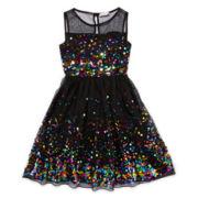 Speechless Sleeveless Multi-Sequin Dress - Girls 7-16