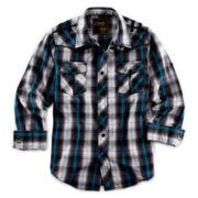 Chalc® Button-Front Long-Sleeve Plaid Shirt – Boys 6-18
