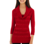 by & by 3/4-Sleeve Cowlneck Sweater