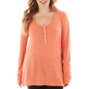 Arizona Long-Sleeve Lace-Inset High-Low Top - Plus