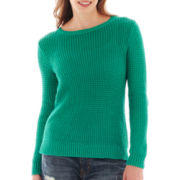 a.n.a® Long-Sleeve Mesh Stitch Sweater - Petite