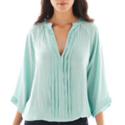 a.n.a® 3/4-Sleeve Pleat-Front Banded Blouse - Petite