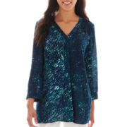 a.n.a® 3/4-Sleeve Shirred Shoulder Tunic - Petite