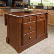 Redford Rich Cherry Wood Kitchen Island with Extension