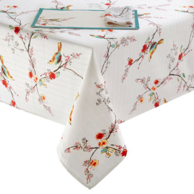 jcpenney.com | Lenox Chirp Bird Pattern Microfiber Table Linen Collection