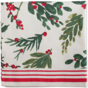 Holiday Greenery Stripe Set of 4 Napkins