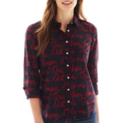 jcp™ Long-Sleeve Silk-Blend Print Shirt