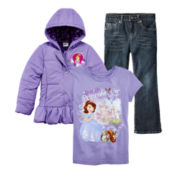 Disney Princess Sofia Graphic Tee, Puffy Jacket or Arizona Jeans – Girls