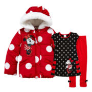 Disney Minnie Mouse Tunic, Leggings or Puffy Jacket – Girls
