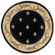 Fleur de Lis Hand-Carved Wool Octagonal Rug