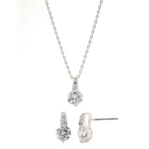 Sparkle Allure Cubic Zirconia Silver Drop Pendant And Earrings Set