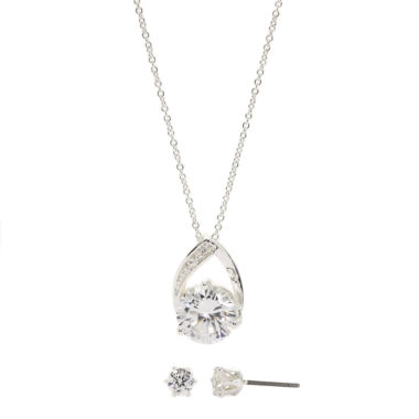 jcpenney.com | Sparkle Allure Cubic Zirconia Round Stone Pave Pendant with Earrings
