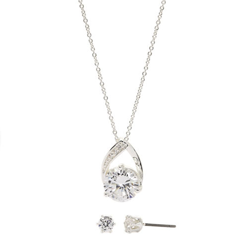 Sparkle Allure Cubic Zirconia Round Stone Pave Pendant with Earrings
