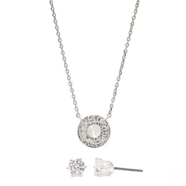 jcpenney.com | Sparkle Allure Cubic Zirconia Silver Round Halo Pendant