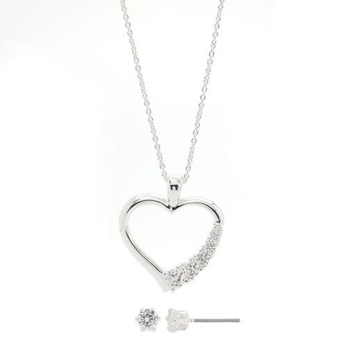 Sparkle Allure Side Cubic Zirconia Heart Set