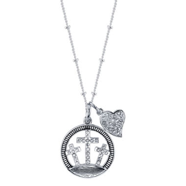 jcpenney.com | Footnotes Womens White Crystal Brass Pendant Necklace
