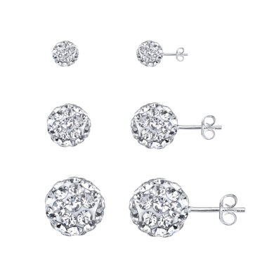 jcpenney.com | Sparkle Allure 3-pc. Multi Color Crystal Sterling Silver Earring Sets