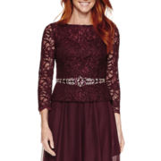 Jackie Jon 3/4 Sleeve Knit Evening Gowns