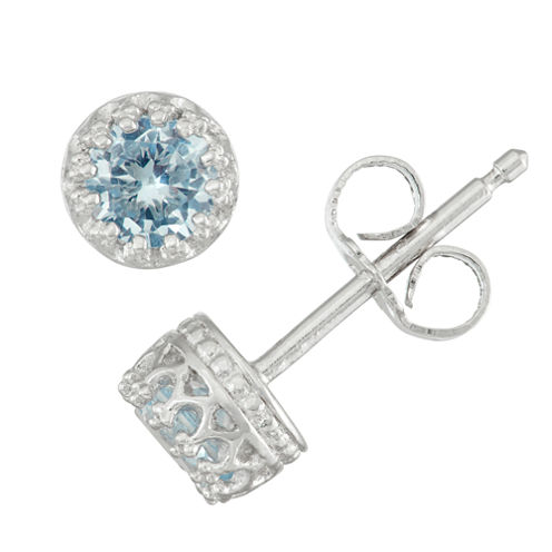 Children's Sterling Silver Aquamarine 4mm Stud Earrings