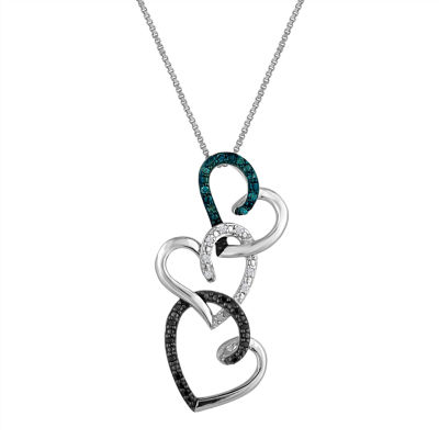 110 cttw white and color enhanced black and blue heart pendant in tw diamond sterling silver triple heart pendant necklace aloadofball Images