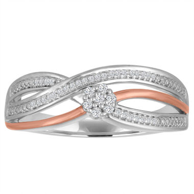 jcpenney.com | Diamond Blossom Womens 1/10 CT. T.W. White Diamond Sterling Silver Gold Over Silver Cocktail Ring