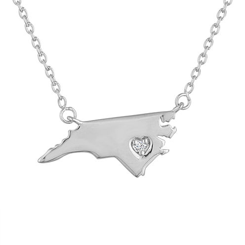 Diamond Accent Sterling Silver North Carolina Pendant Necklace